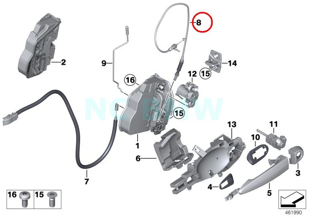 BMW Genuine Outside Door Handle Front Bowd.Cable
