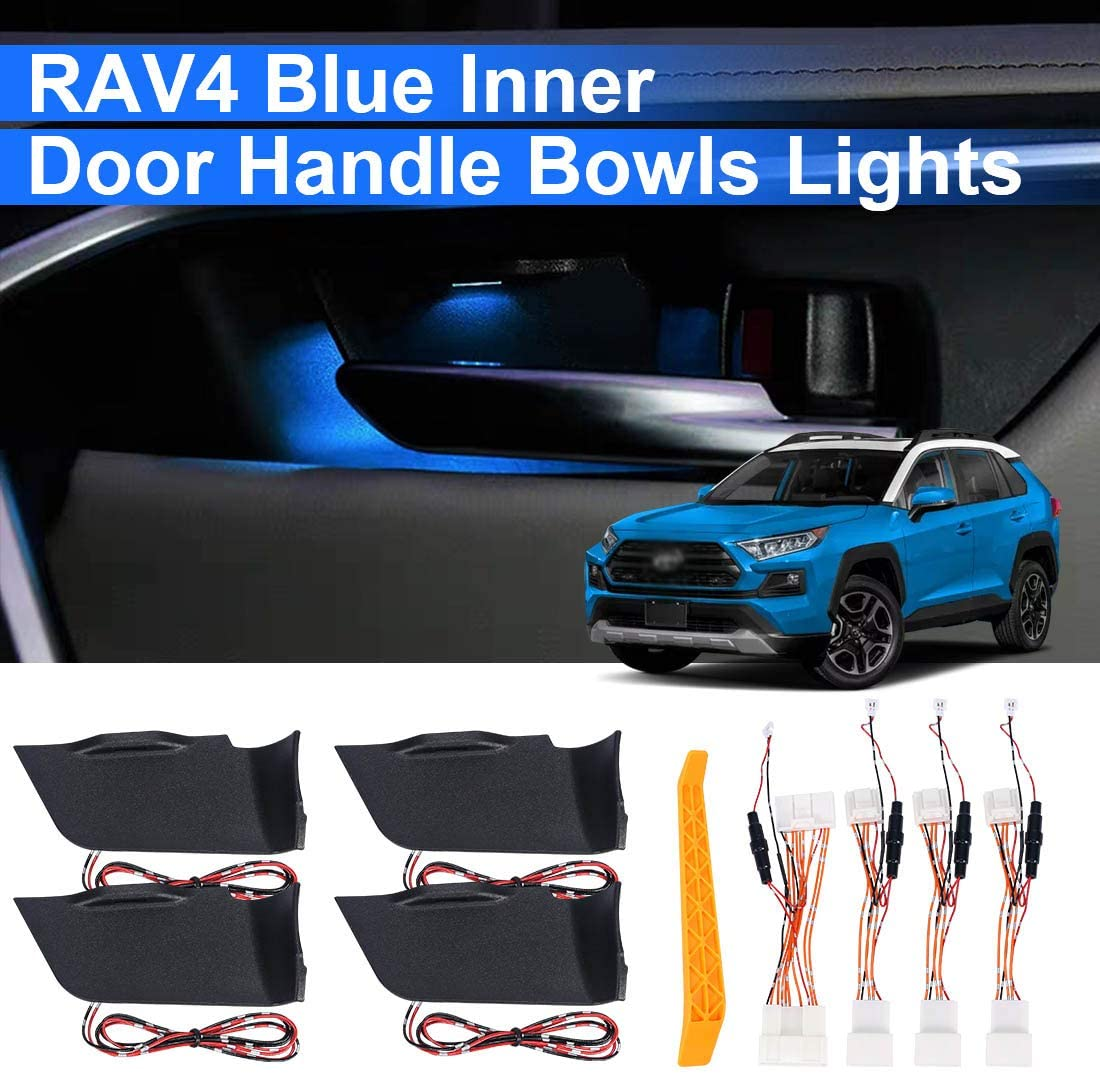 RAV4 Inner Door Bowl Light Kits Blue Atmosphere Light Interior LED Decoration Door Bowl Handle Frame Light for RAV4 2019 2020, 4PCS with Removal Tool