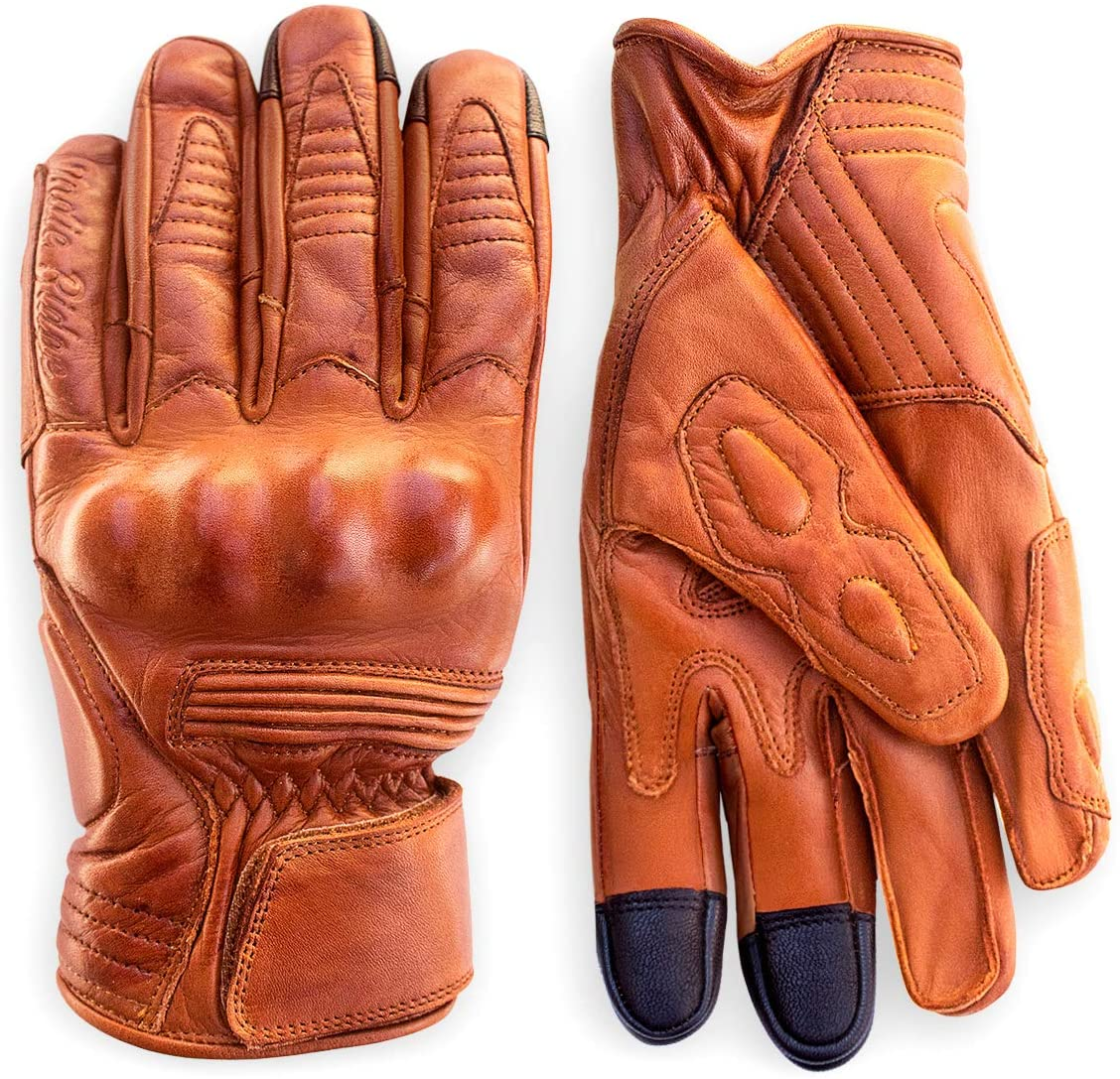 Premium Leather Motorcycle Gloves (Camel) by Indie Ridge Mobile Touchscreen Knuckle Protection (Large)
