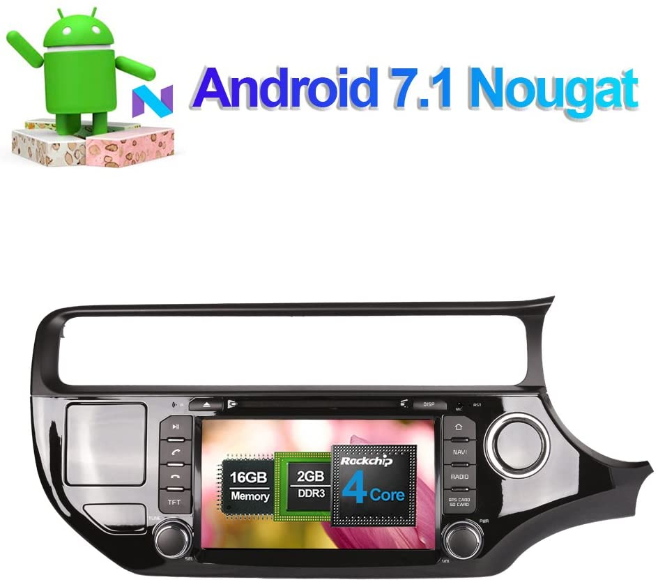 Flynavigo 8 Inch Android 7.1 Quad Core Car Stereo CD DVD Player Head Unit with Bluetooth Gps Navigation System for Kia Rio 2015- Right Hand Driving Support FM AM WIFI/3G Video Output Cam-in