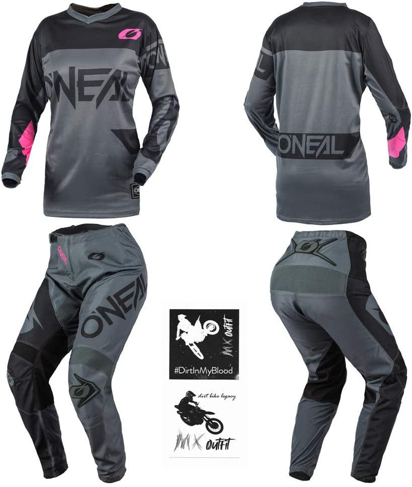 O'Neal Element Racewear Pink Women motocross MX off-road dirt bike Jersey Pants combo riding gear set (Pants Women 1/2 / Jersey Small)