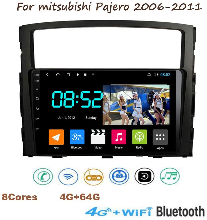 Yuahwyehe Car Radio Stereo Android 8.1 MP5 Player GPS Navigator Support USB Radio OBD DVR 1080P 10 Inch 2.5D+IPS 8 Cores Touch Screen BT Mirror Link for Mitsubishi Pajero 2006-2011