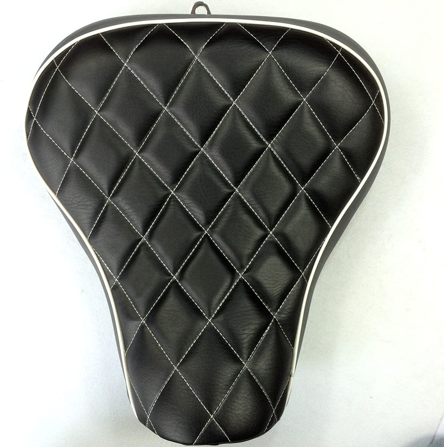 HTTMT MT500-07D Motorcycle Black Custom Front Solo Driver Diamond Stitch Style Leather SeatCompatible with 2005 2006 2007 2008 2009 2010 2011 2012 2013 Harley Davidson XL 1200S Sportster