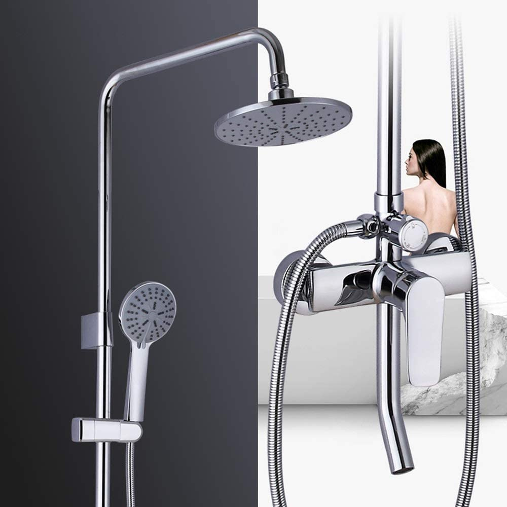 zZZ Hot and Cold Shower Set 20cm Round Top Spray Shower System Brass Shower Faucet 3 Modes Silver Lift Home Practical
