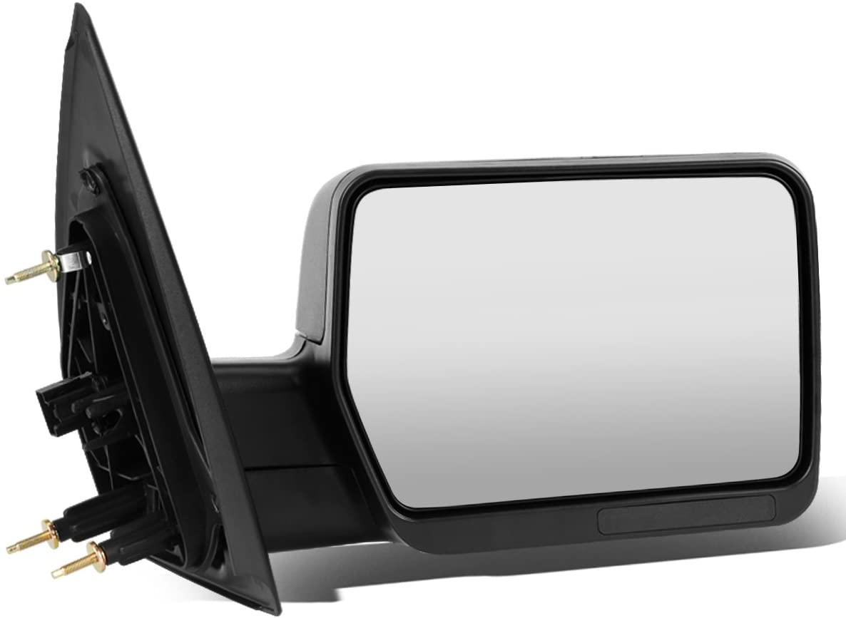 Replacement for Ford F150 Black Textured Telescoping Manual Folding Side Towing Mirror (Right/Passenger)
