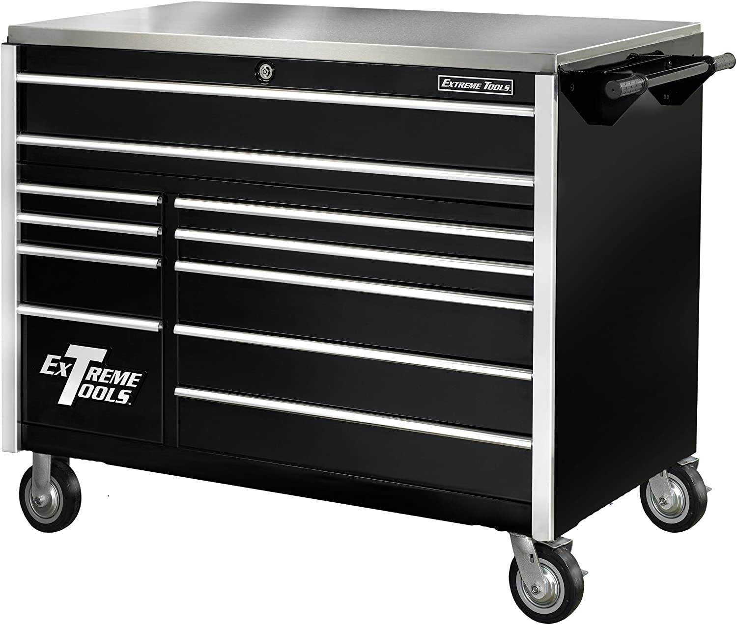 Extreme Tools EX5511RCBK 11-Drawer Roller Cabinet with Security Drawer and Ball Bearing Slides, 55-Inch, Black High Gloss Powder Coat
