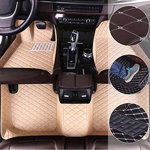 Car Floor Mats for Cadillac Escalade Platinum 2006-2016 Custom Leather mat Full Surrounded Cargo Liner All Weather Protection Waterpoof Non-Slip Set Left Drive Beige