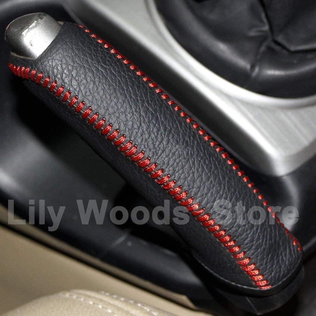 Loncky Black Genuine Leather Custom Fit Car Handbrake Cover for Honda Civic Si 2006 2007 2008 2009 2010 2011 Civic EX LX GX Accessories