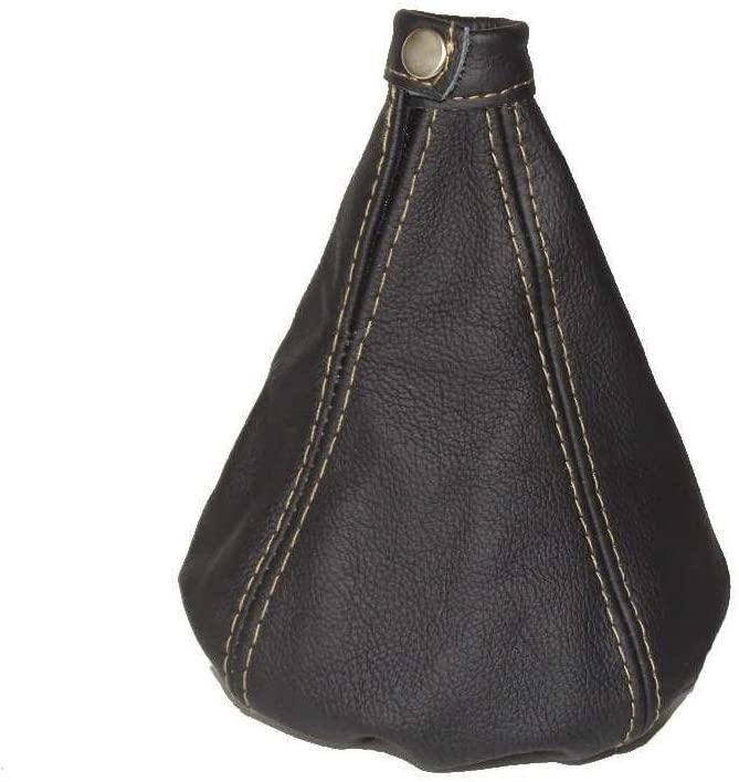 The Tuning-Shop Ltd For Alfa Romeo 147 2005-10 Shift Boot Black Italian Leather Beige Stitching