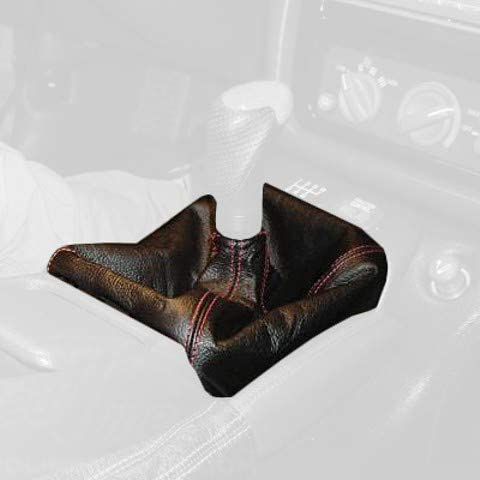 RedlineGoods Shift Boot Compatible with Pontiac Firebird 1993-97. Black Leather-Red Thread