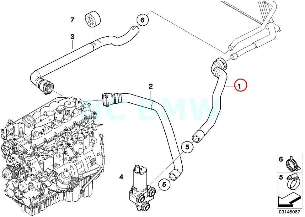 BMW Genuine Hose F Add.Water Pump Snd Heat.Radiator