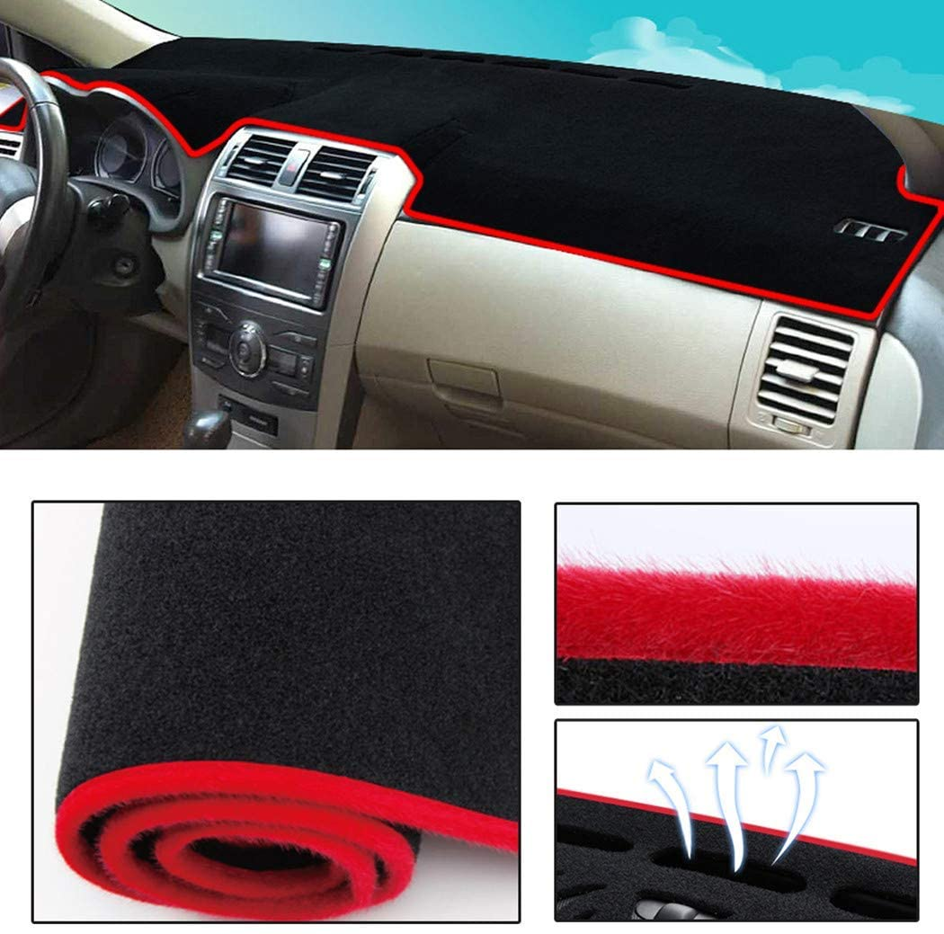 Dashboard Cover Dash Cover Mat Pad Custom Fit for Kia Soul 2020 Model Set Red Line