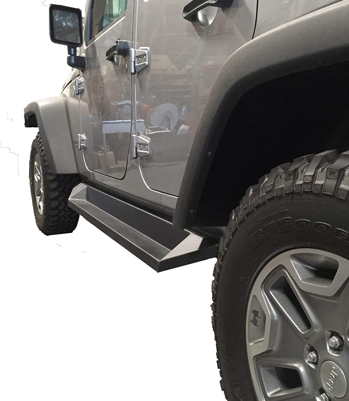 DV8 Offroad 4 Door Plated Steel Step 2007-2017 Jeep JK Matt Black