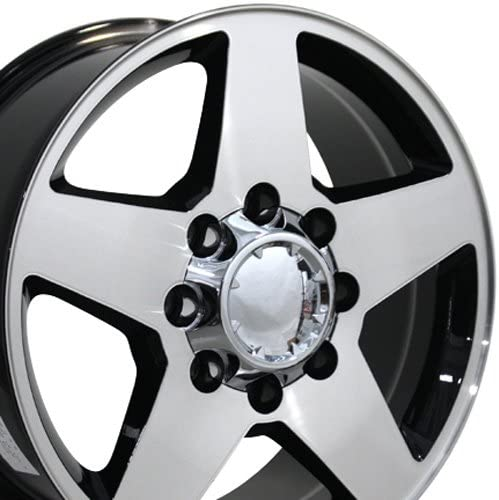 OE Wheels LLC 20 Inch Fits Chevy 2500 3500 GMC 2500 3500 8x165 Heavy Duty Silverado Style CV91A 20x8.5 Rims Gloss Black Machined SET