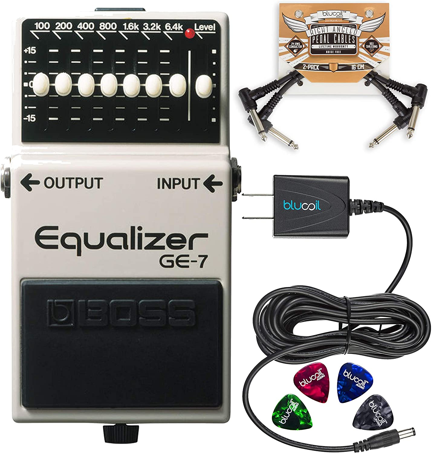 BOSS GE-7 Equalizer Pedal with 7 Band EQ Bundle with Blucoil Slim 9V Power Supply AC Adapter, 2-Pack of Pedal Patch Cables, and 4-Pack of Celluloid Guitar Picks