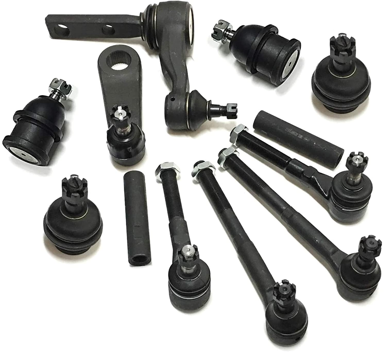 12 Pc Suspension & Steering Lower Upper Ball Joints Tie Rod Linkages Adjusting Sleeves All 2WD Models