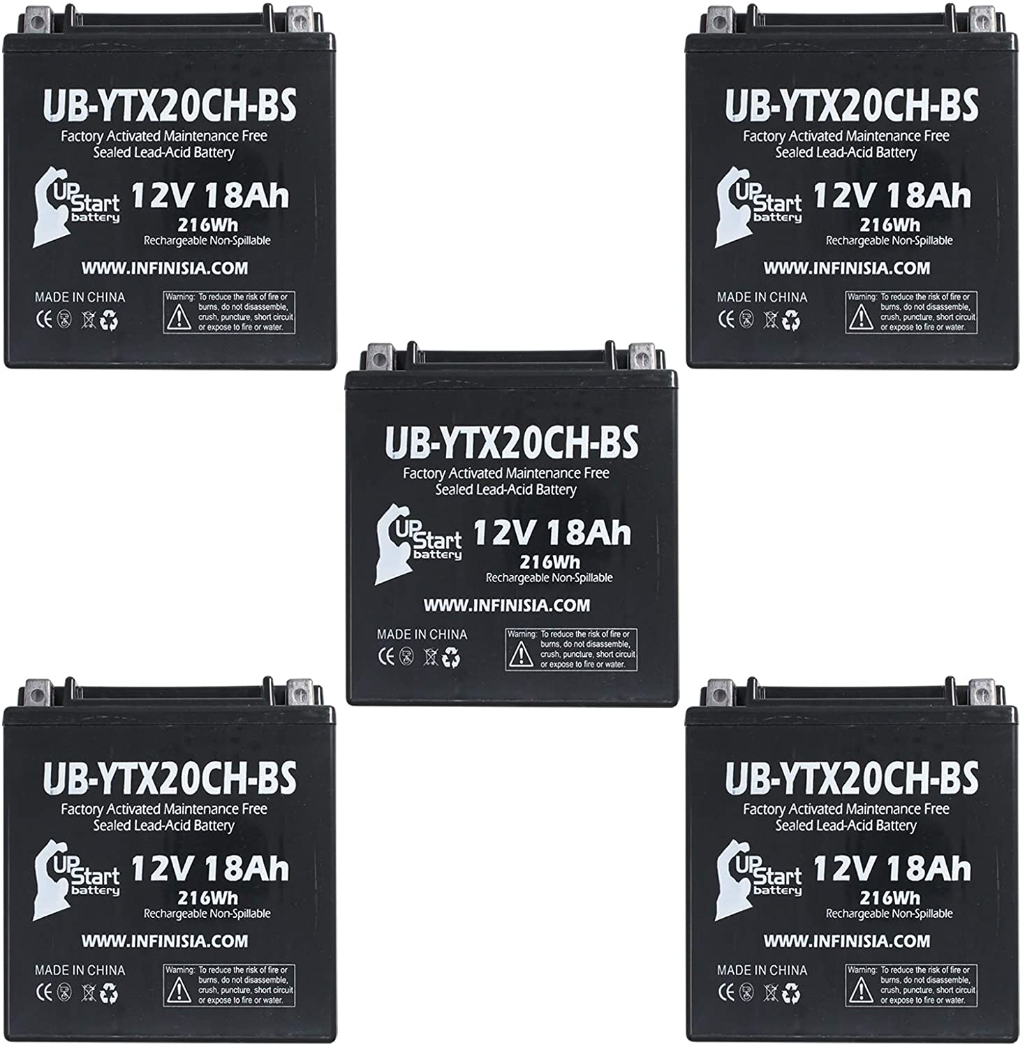 5-Pack UB-YTX20CH-BS Battery Replacement for 2015 Suzuki VL1500 Boulevard C90 1500 CC Motorcycle - Factory Activated, Maintenance Free, Motorcycle Battery - 12V, 18AH, UpStart Battery Brand