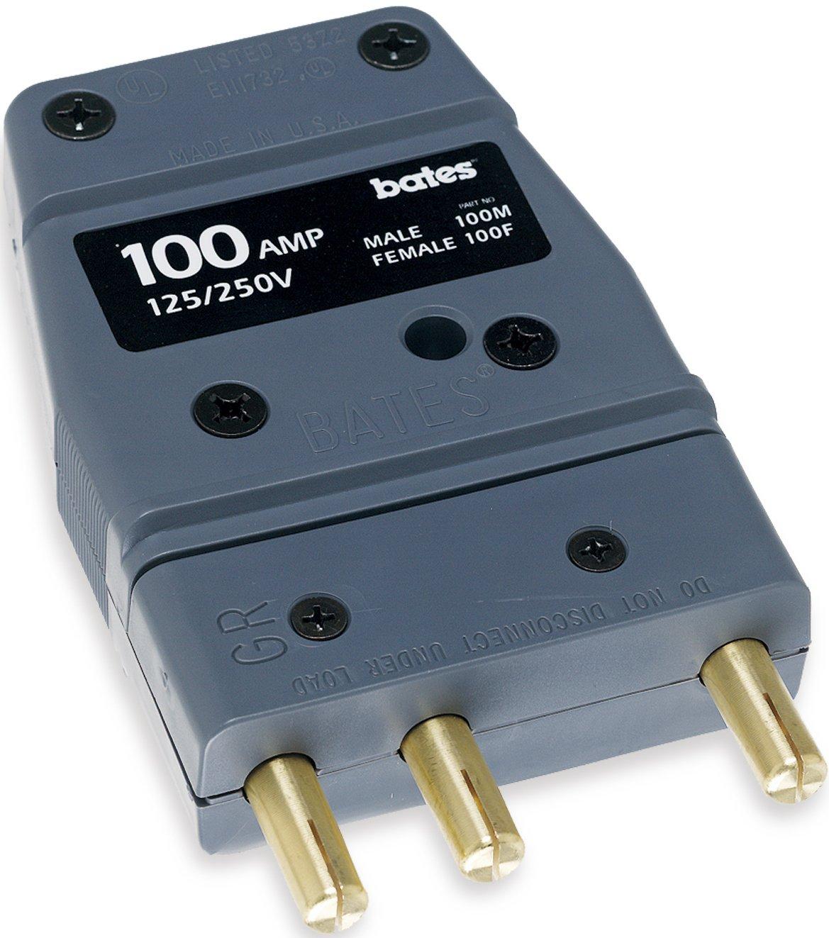 Marinco 100M Bates - Stage Pin 100 Amp, 125 Volt, Male Inline