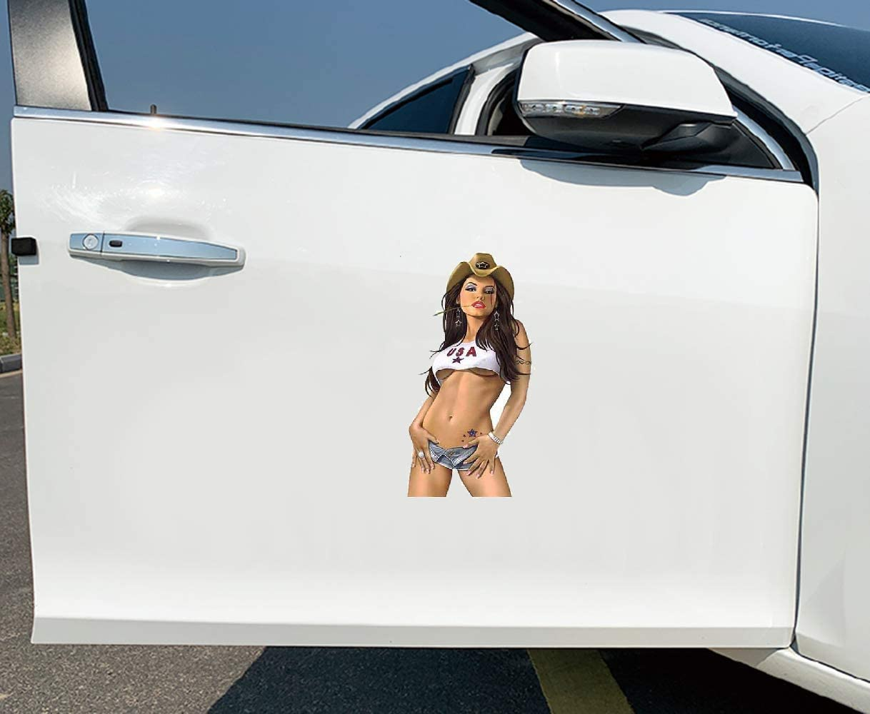 for Ultra Rare Sexy All American Cow Girl Pinup Gir Car Sticker Occlusion Scratch Bumper Window Stickers 13Cm X 7.4Cm