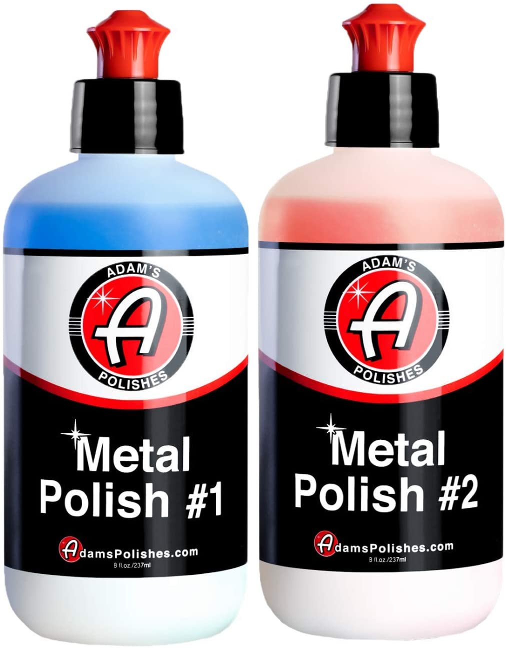 Adams Metal Polish - for Aluminum, Chrome, Stainless, Uncoated Metals & Other Auto Part Accessories - Polish #1 Restores Neglected Metals - Polish #2 Achieves Perfection (Metal Polish Combo)