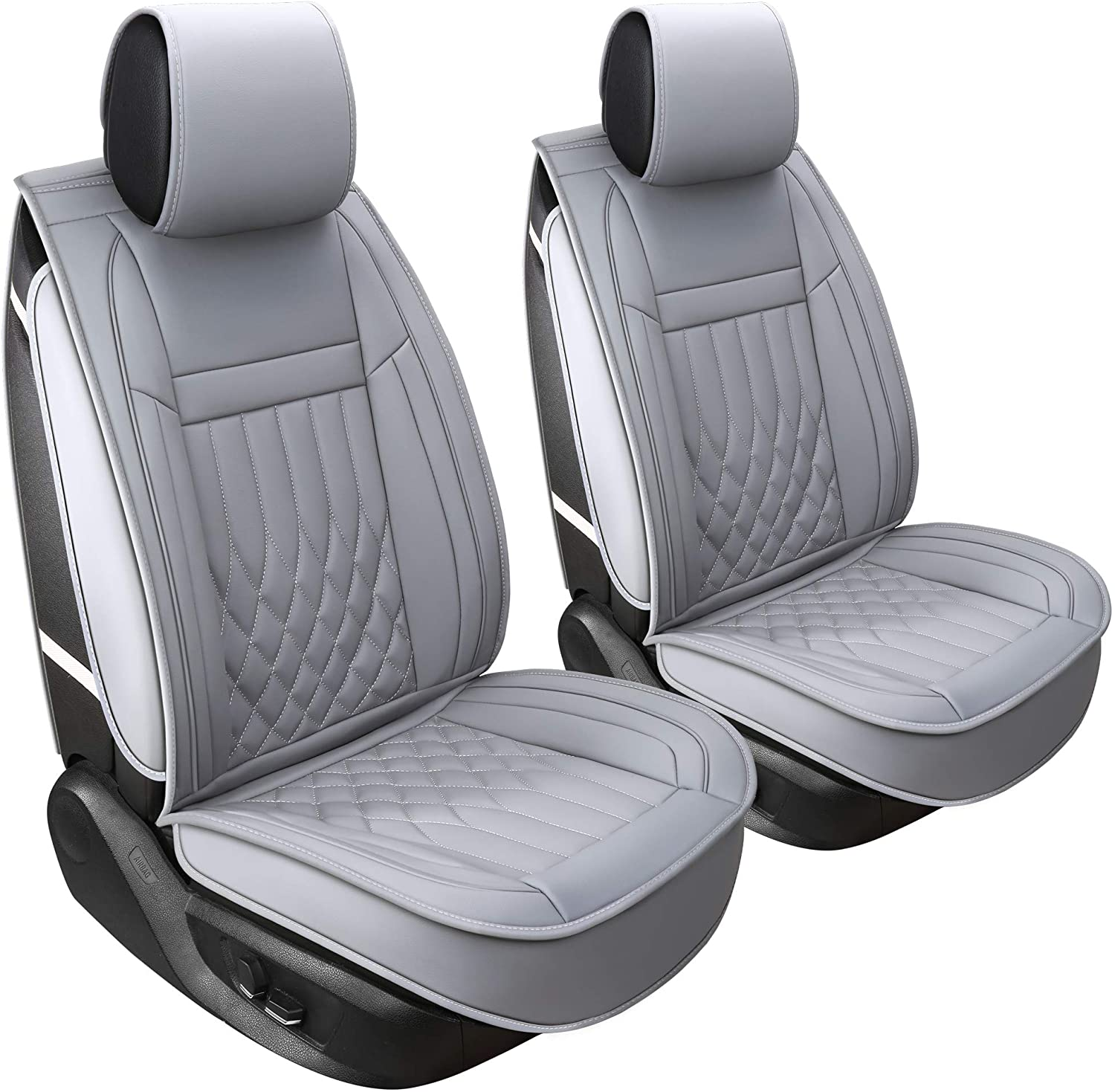 Aierxuan 2pcs Car Seat Covers Front Set with Waterproof Leather,Airbag Compatible Automotive Vehicle Cushion Cover Universal fit for Most Cars (Grey)