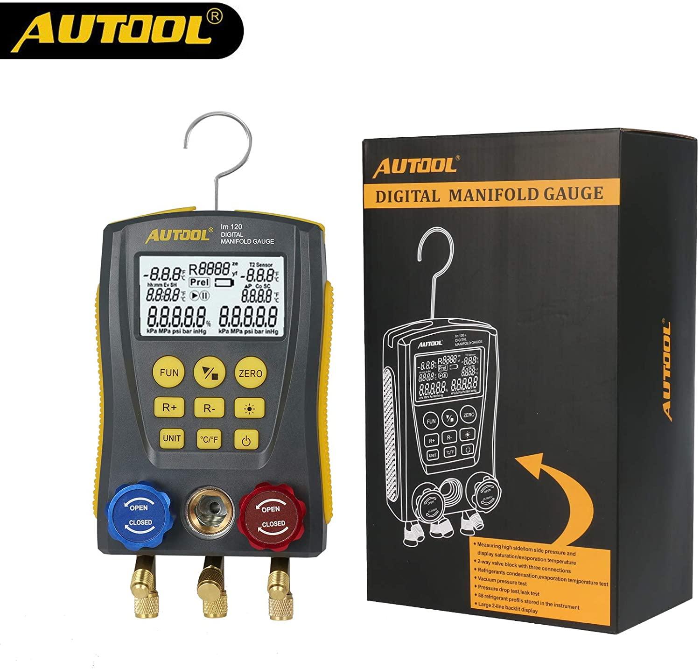 AUTOOL lm120 Refrigeration Digital Manifold Gauge Meter HVAC Vacuum Pressure Temperature Tester Kit Leakage Test