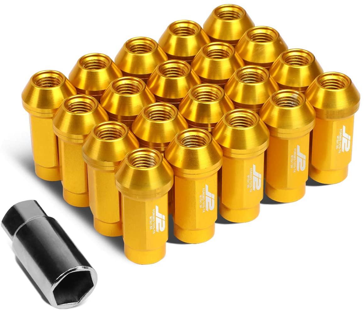 J2 Engineering LN-T7-018-15-GD 7075 Aluminum Gold M12x1.5 20Pcs L: 50mm Close-End Lug Nut w/Adapter