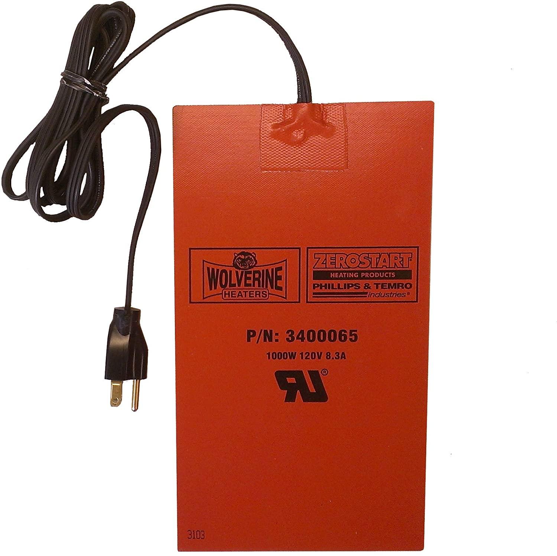 Zerostart 3400065 Silicone Pad Heater Engine Oil, Transmission Fluid, Reservoir and Hydraulic Fluid Heater, 6