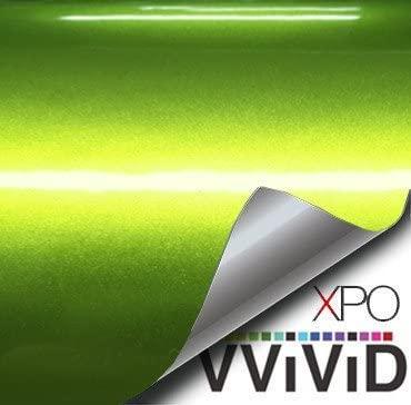 VViViD XPO Viper Lime Green Liquid Metal Gloss Vinyl Car Wrap Film 1 Foot x 5 Feet Roll DIY Easy to Install No-Mess Decal