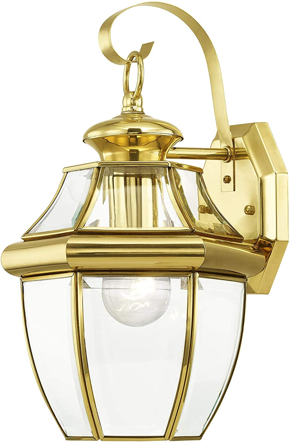 Livex Lighting 2151-02 Monterey 1 Light Outdoor Polished Brass Finish Solid Brass Wall Lantern  with Clear Beveled Glass