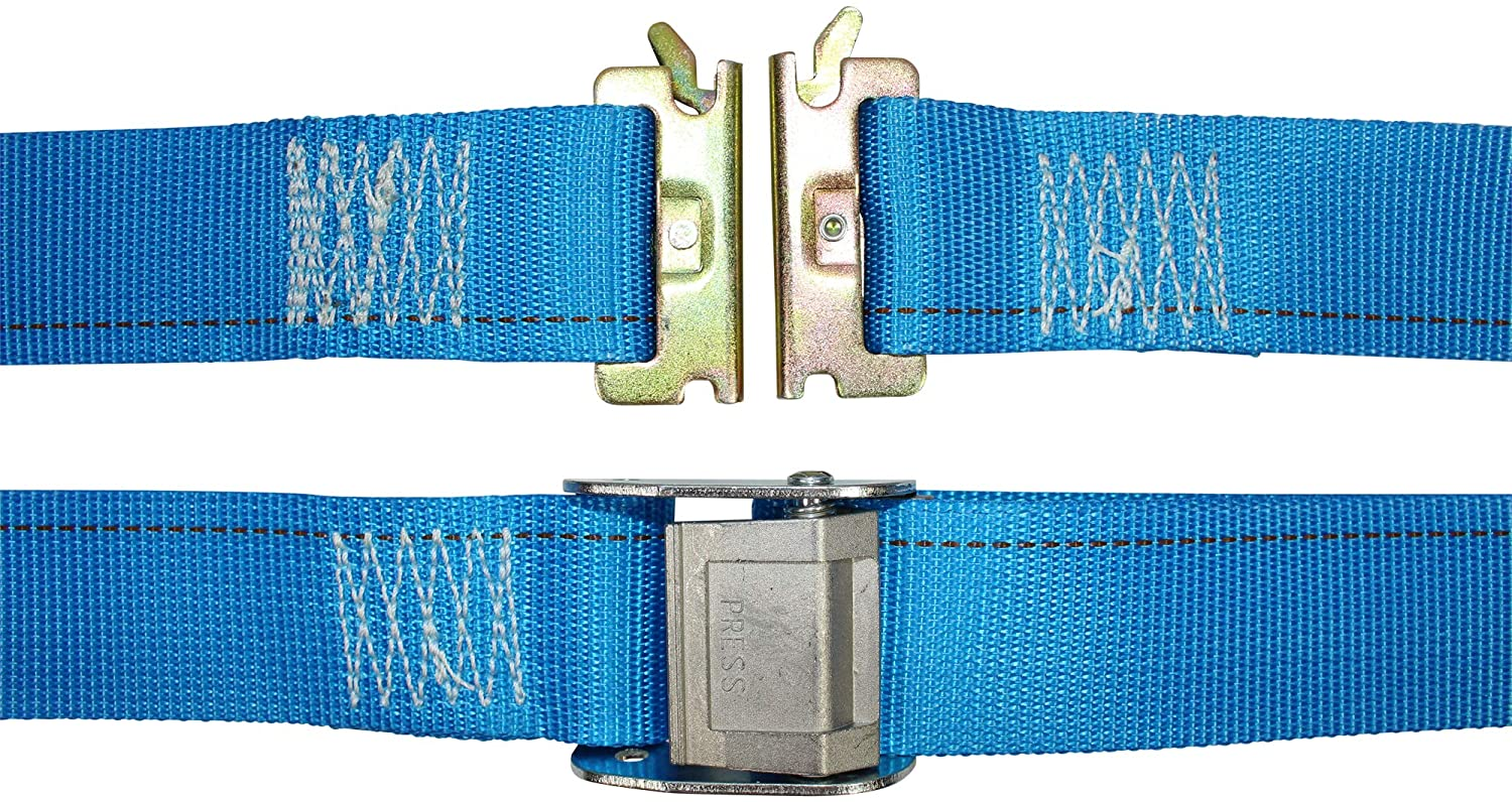 E-Track Ratcheting Cargo Strap - SGT KNOTS - E Track Heavy Duty Adjustable Cam Buckle Straps - ETrack Lashing Tie Down for Loading Truck Bed, Flatbed (2 in x 20 ft Strap with Cam - 2 Pack - Blue)