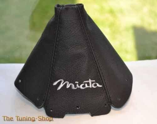The Tuning-Shop Ltd For Mazda Mx-5 Mk1 NA 1989-1997 Shift Boot Black Leather Grey Miata Embroidery