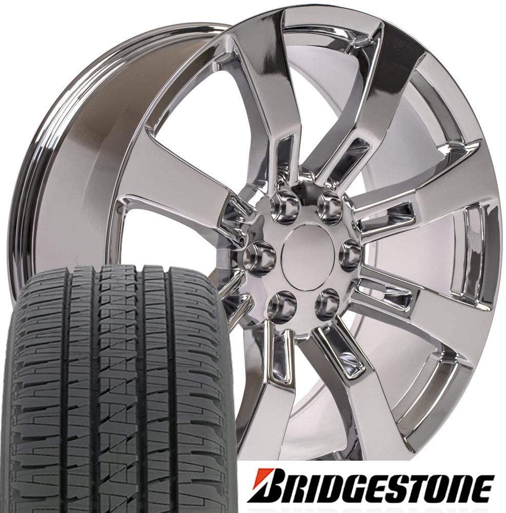 OE Wheels LLC 20 Inch Fits Chevy Silverado Tahoe GMC Sierra Yukon Cadillac Escalade CA82 Chrome 22x9 Rims Hollander 5409 Bridgestone Dueler Alenza HL Tires SET
