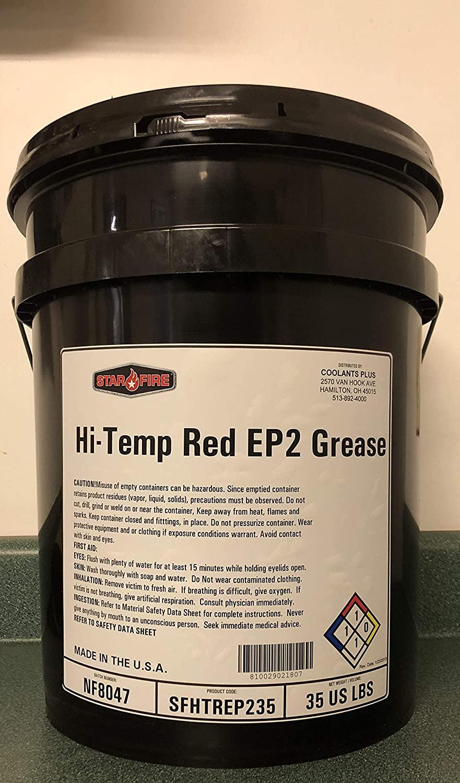Star Fire Premium Lubricants Hi-Temp Red EP2 Grease- 5 Gallon Pail