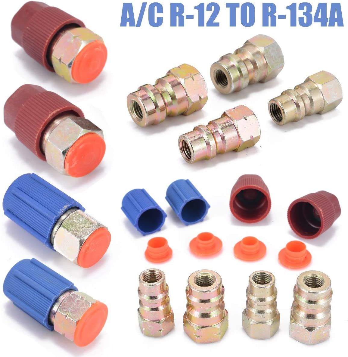 Kunle 1 Set A/C R-12 to R-134a Retrofit Conversion Adapter Fitting 7/16 3/8 SAE Air Conditioning Valves Core Tool Kit + A/C System Cap NEW PRODUCT