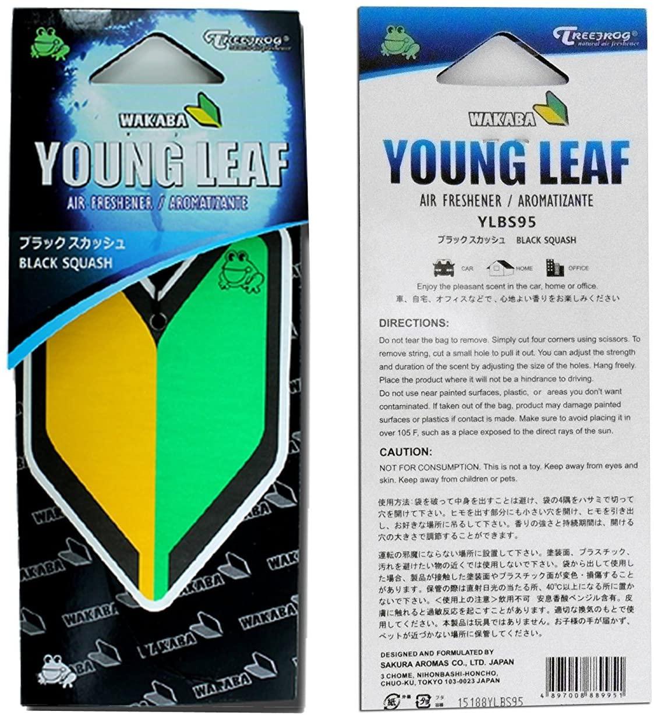 2 Pack Treefrog Wakaba Young Leaf Japanese Air Freshener Black Squash JDM Car Auto