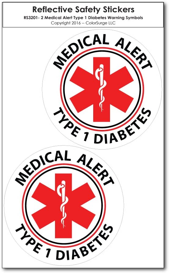 Medical Alert Reflective Decals by ColorSurge | For Wheelchairs, Car Bumpers & Windows | Weatherproof & UV Resistant | Indoor & Outdoor Use (Type 1 Diabetes, Small, 2 Pack)
