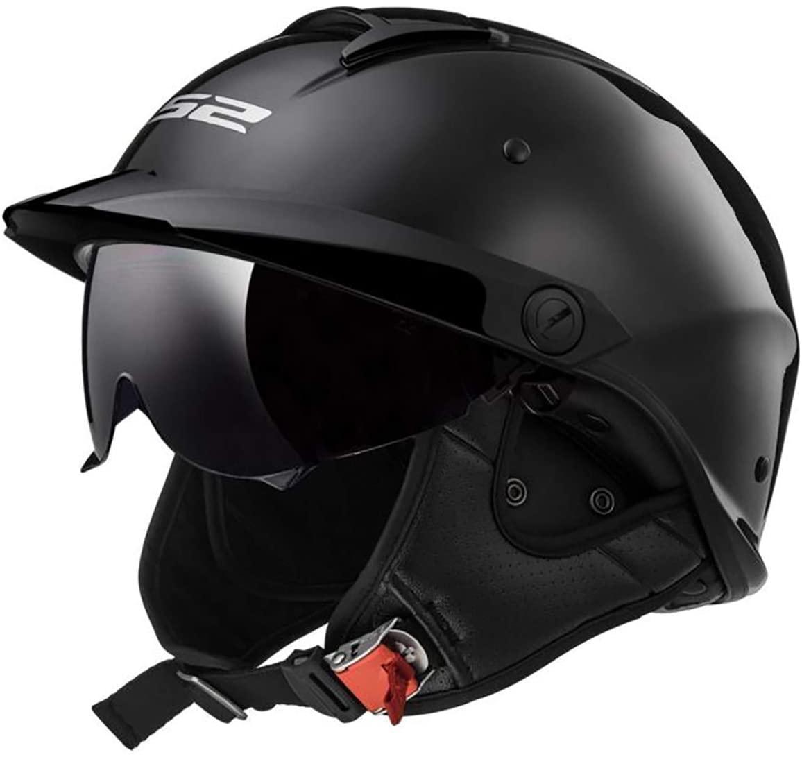 LS2 Helmets Rebellion Motorcycle Half Helmet (Gloss Black - Large)