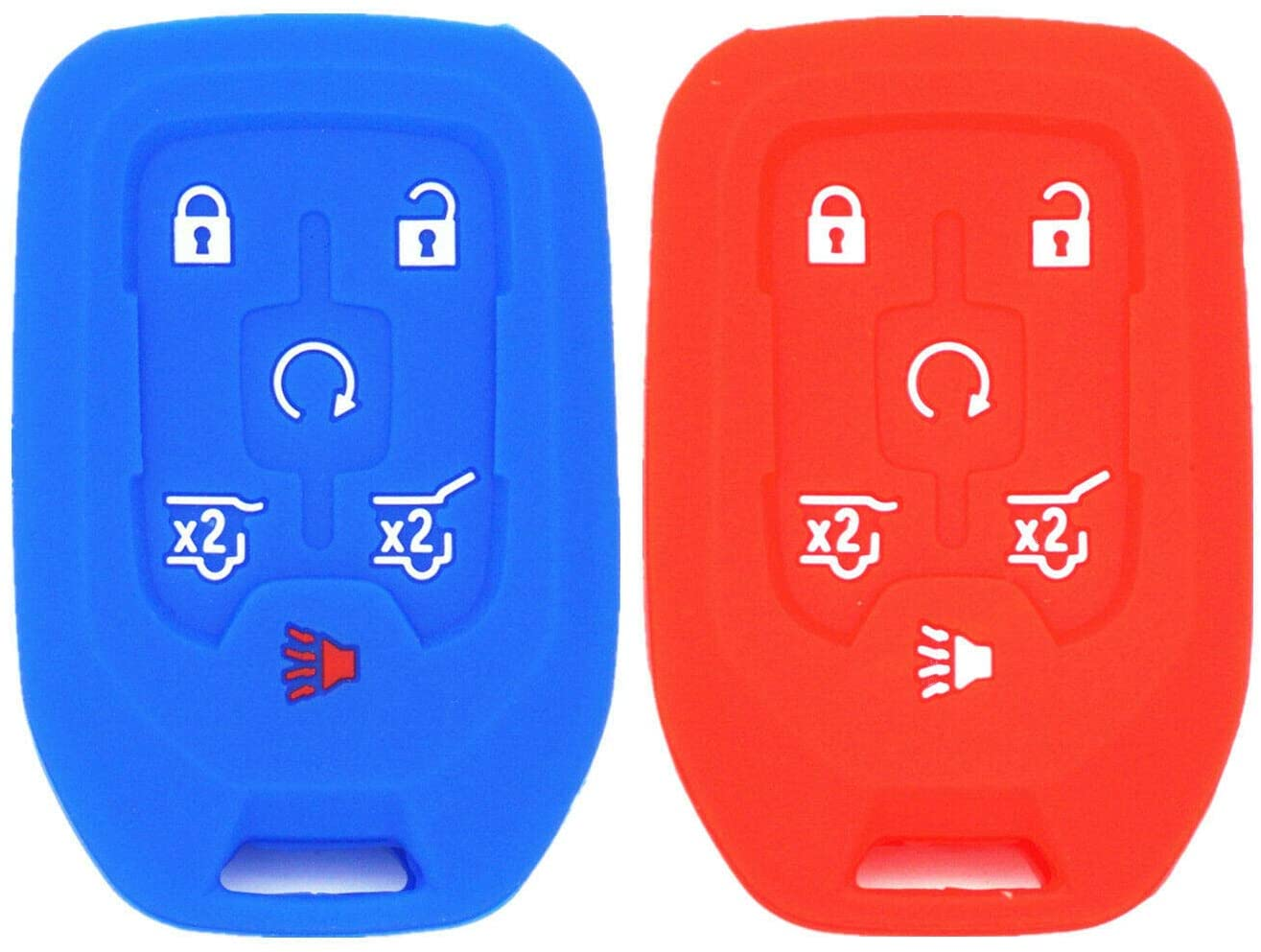 Remote Entry System Kits 2Pcs Blue Red Silicone 4 Buttons Key Cover Chain for GMC Yukon Chevrolet Tahoe