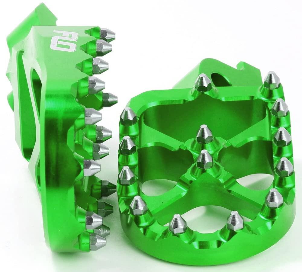 FLO Motorsports Pro Series Foot Pegs (Green) for 01-21 Kawasaki KX85