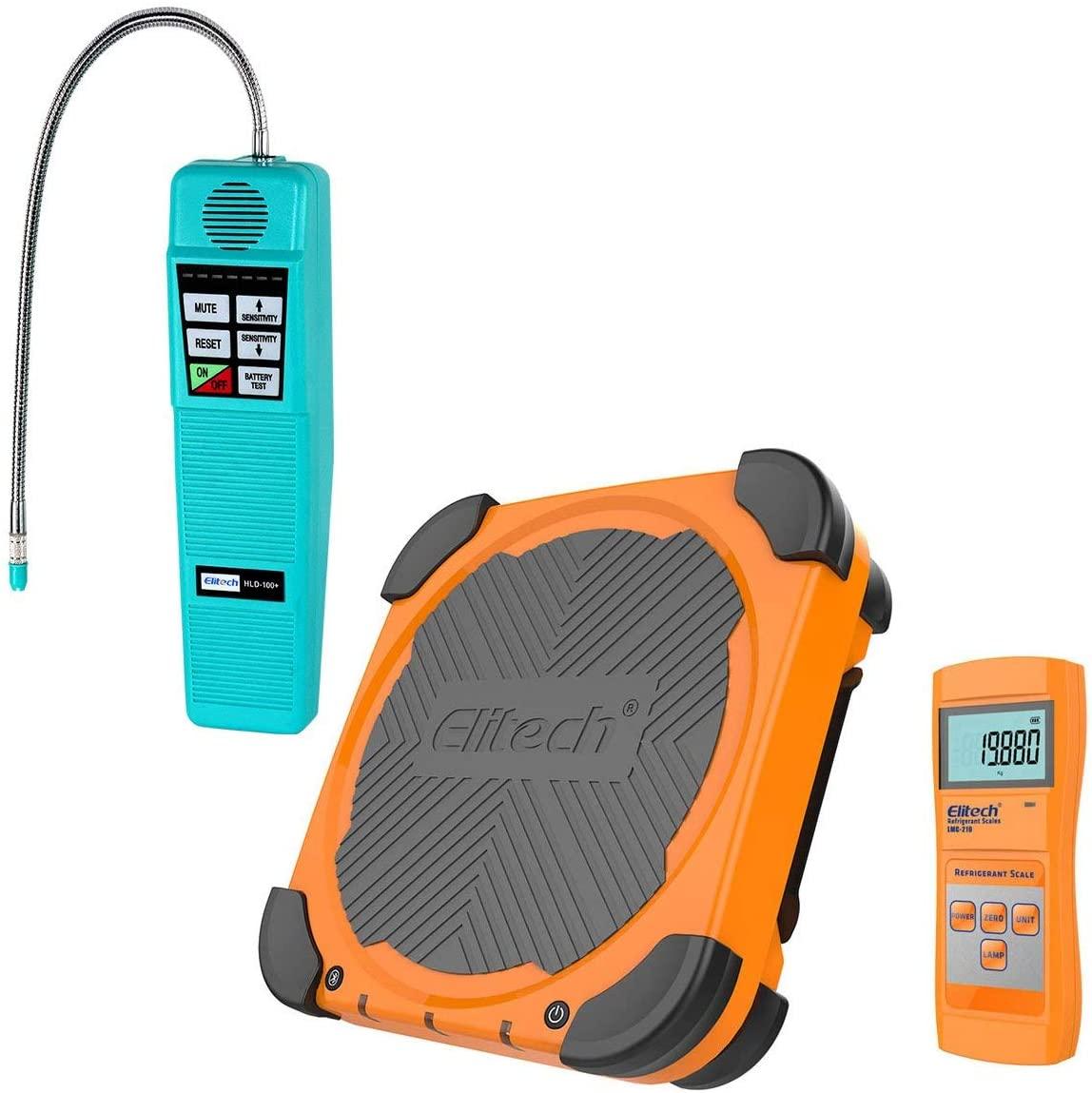 Elitech HLD-100+ Refrigerant Leak Detector Freon Leak Detector + LMC-210 Wireless Refrigerant Charging Scale HVAC AC 220lbs