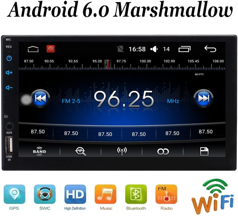 Double Din in Dash Head Unit Quad Core Android 6.0 System Car Stereo with 7 inch Touch Screen GPS Navigation Radio Audio Player Support HD Video WiFi Mirrorlink Steering Wheel Control