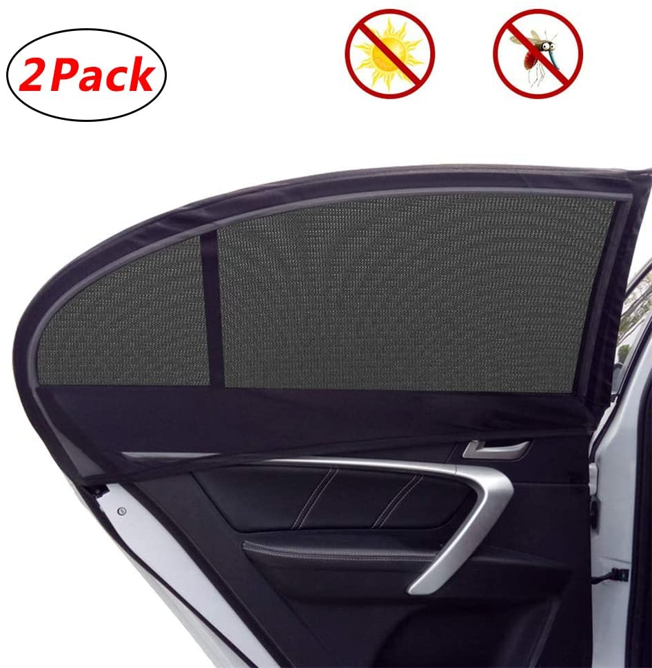 Car Side Window Sun Shade Universal Car Sun Shade for Side Window-Double Layer Design UV Rays Sun Protector Fits Most of Vehicle 2 Pack