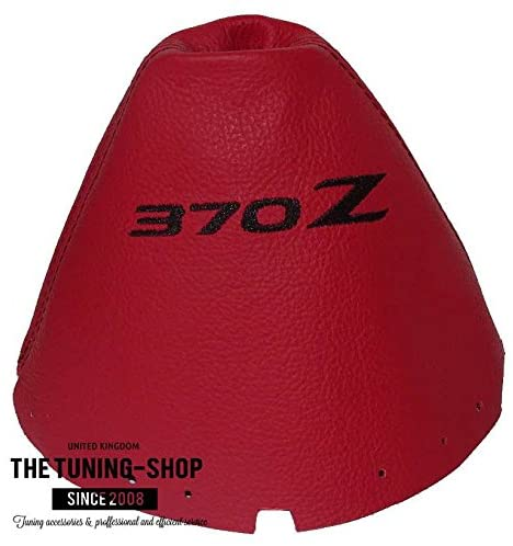 The Tuning-Shop Ltd For Nissan 370Z Z34 2009-2016 Manual Shift Boot Red Leather Black 370Z Embroidery Edition