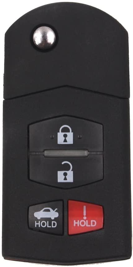 Keyecu Replace Flip Shell Remote Key Case 3+1 Button for Mazda 3 5 6 RX8 CX5 CX7 CX9