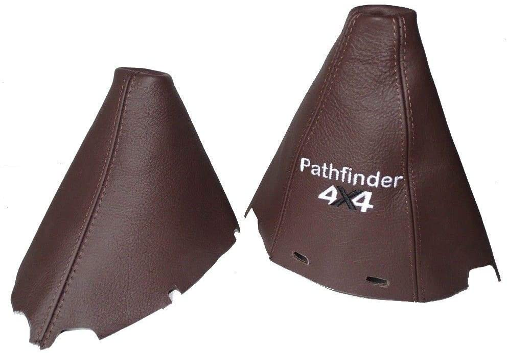 The Tuning Shop Shift & E-Brake Boot with Plastic Frames 180 mm Brown Leather Embroidery