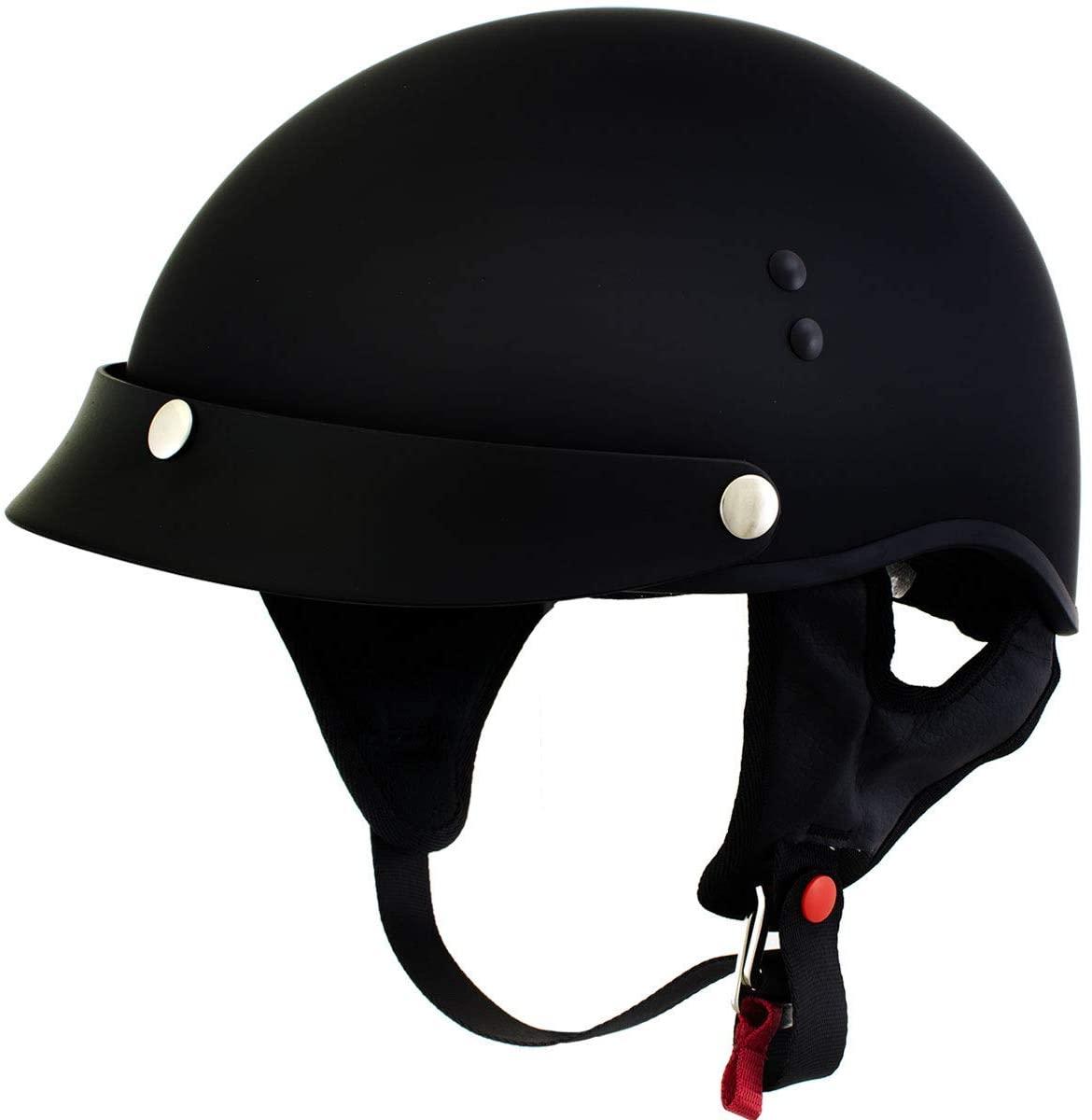Outlaw T70 'Stealth'Advanced DOT Solid Flat Black Half Motorcycle Skull Helmet - X-Large