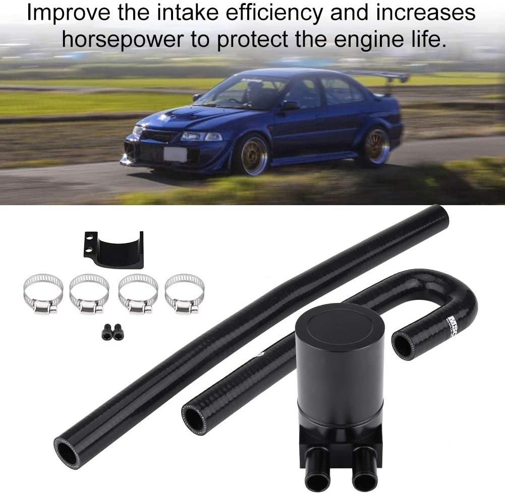 Aluminum Oil Catch Can Reservior Automotive Replacement Catch Can Breather Tank Kit Compatible with 2006 2007 2008 2009 2010 BMW N54 335i 135i E90 E92 E82 - Black