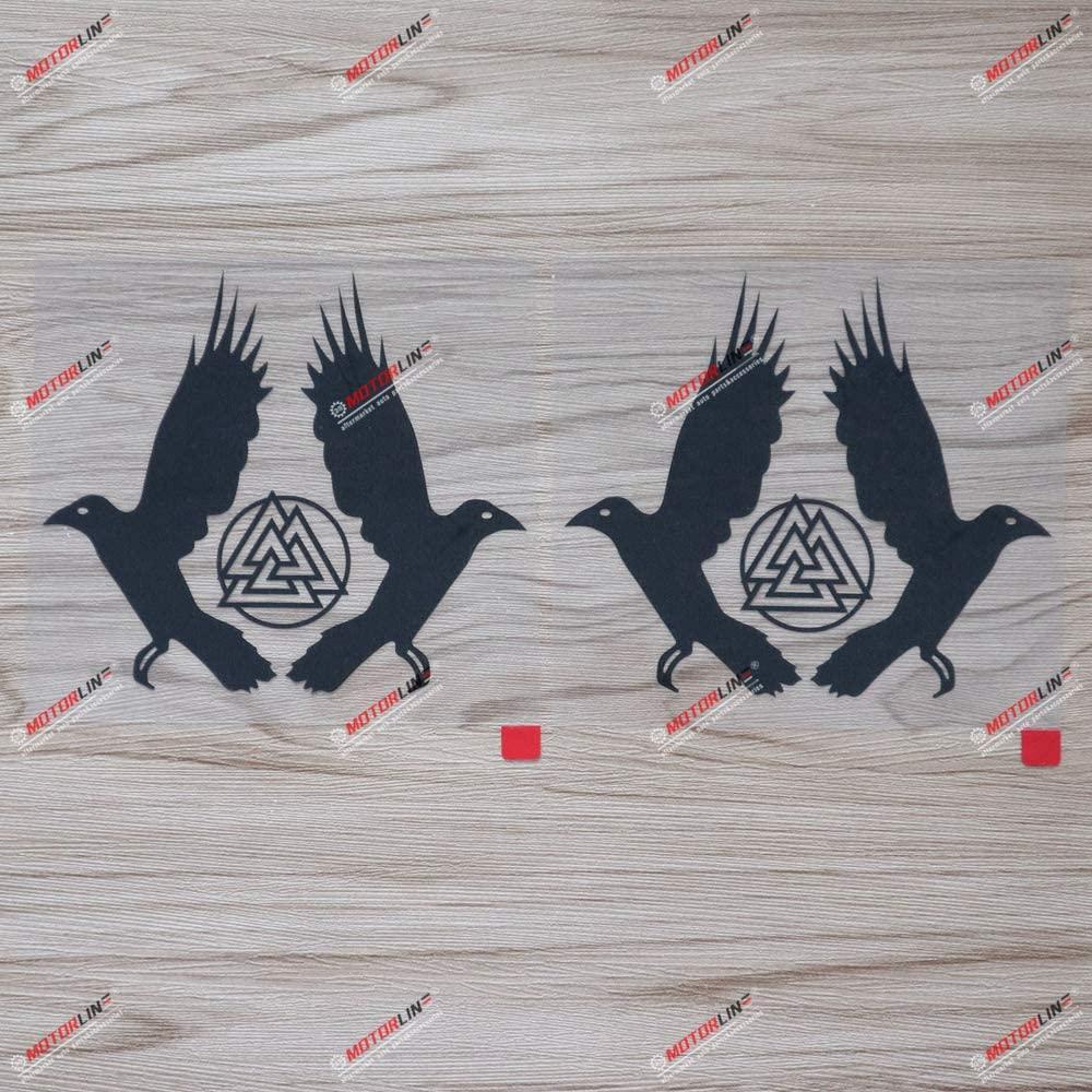 2X Black 5 Huginn and Muninn Twin Ravens Valknut Decal Sticker Car Vinyl Norse Odin a