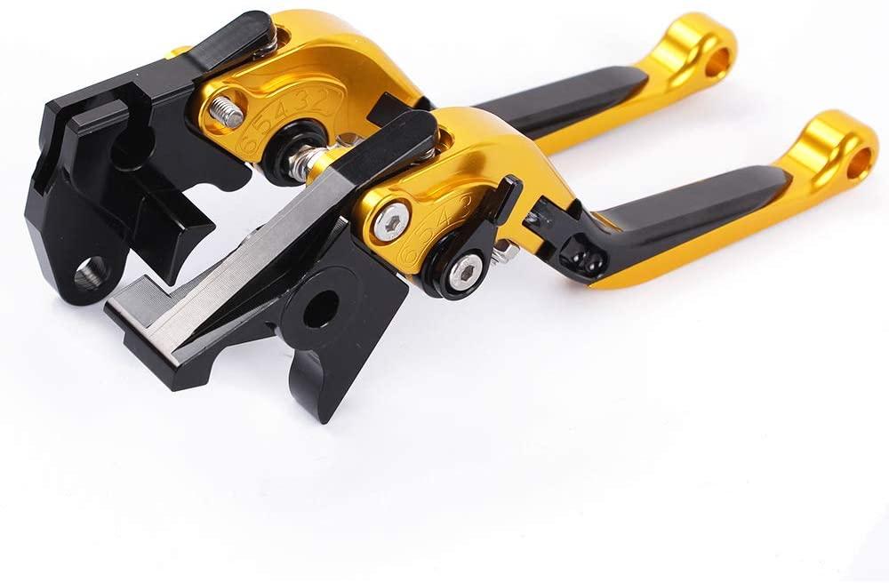 YAOkxin Clutch Lever, 1 Pair Adjustment Folding CNC Short Brake Clutch Levers Compatible for Kawasaki Ninja 650R/ER-6F/ER-6N, z900, z650, Vulcan/S 650cc,HT33,Gold